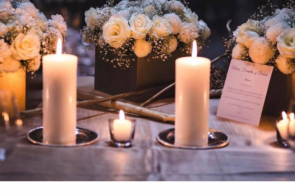 Centros de mesa y velas