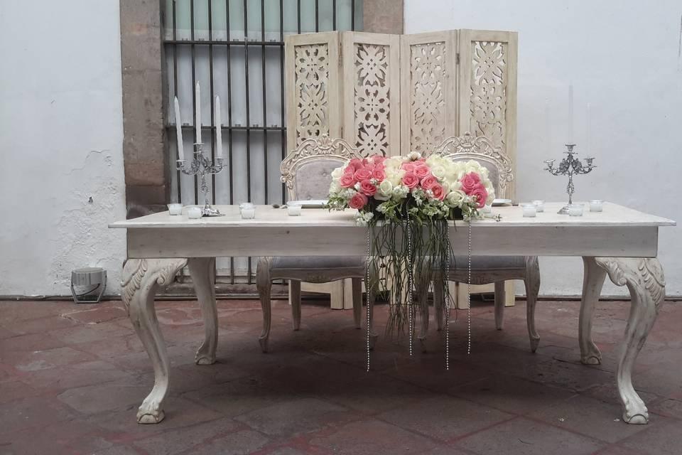Mesa para recepción novios