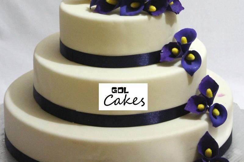 Pastel de boda, flores de azuc